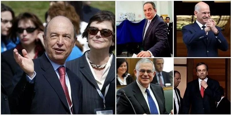 À gauche, Costats Simitis, premier ministre grec de 1996 à 2004. En haut au milieu, Costas Karamanlis, premier ministre grec de 2004 à 2009. En haut à droite, Giorgos Papandréou, premier minsitre de 2009 à 2011. Au milieu en bas, Loukas Papadimos, premier ministre de 2011 à 2012. En bas à droite, Antonis samaras, premier ministre de 2012 à 2015. Depuis janvier 2015, Alexis Tsipras est au pouvoir.