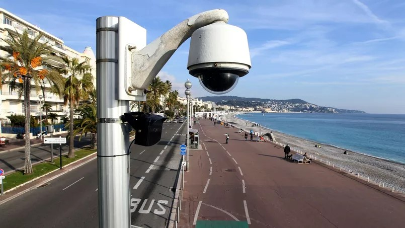 A surveillance camera on the seafront in Nice.