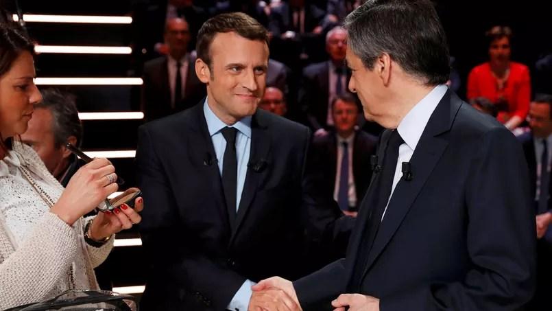 Emmanuel Macron et François Fillon, avant le débat organisé par TF1, le 20 mars dernier.