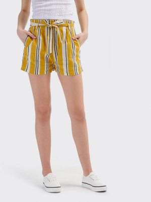reducere Yellow Women's Striped Alcott Shorts, cel mai mic pret