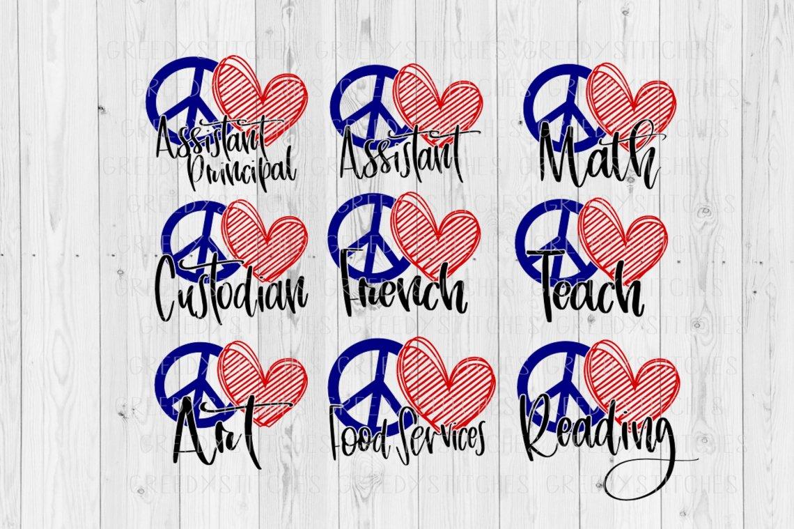 Download Peace Love Bundle SVG DXF EPS PNG | Back To School SVG ...