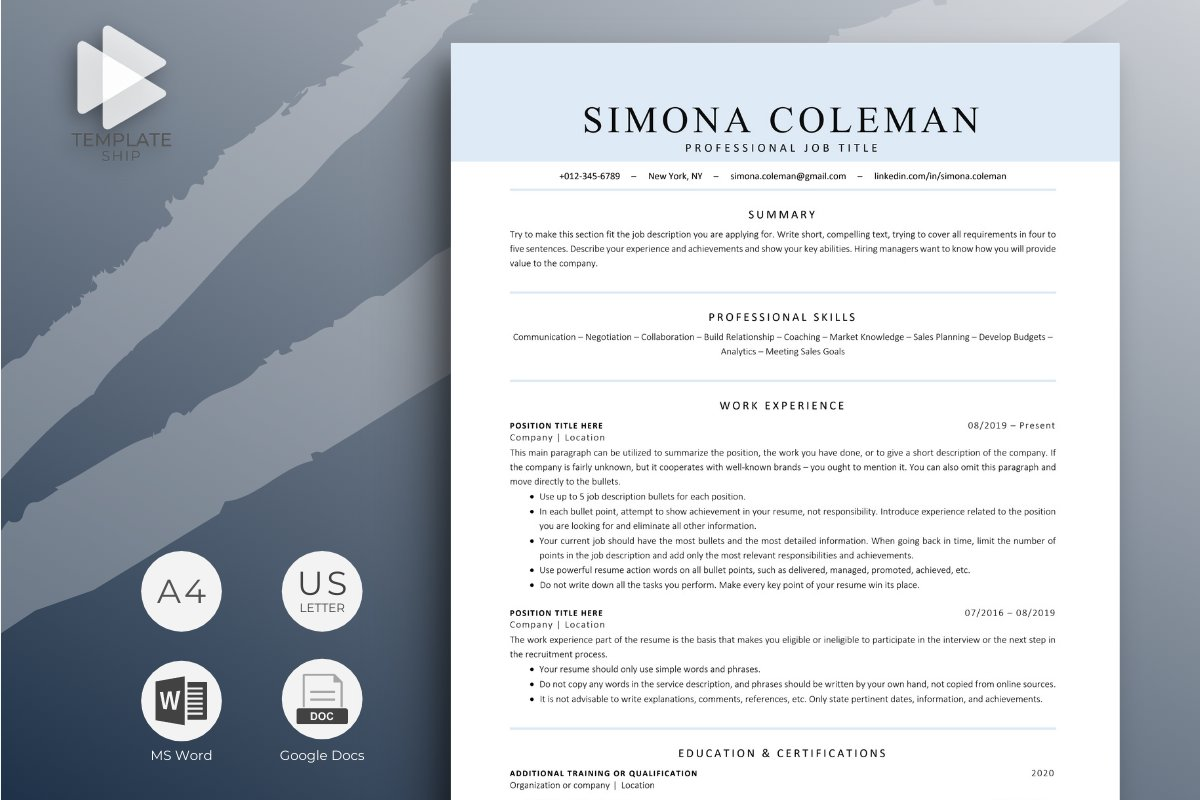 Making a resume sounds easy enough. Modern Ats Friendly Resume Template For Word And Google Docs 1415005 Resume Templates Design Bundles