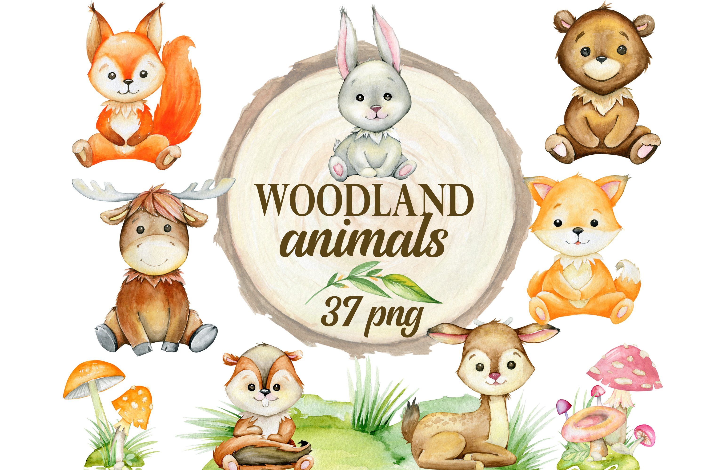 Files are 300 dpi measuring approximately 6000x6000 px each. Woodland Animals Clipart Watercolor Forest Animals Nursery 1083732 Illustrations Design Bundles