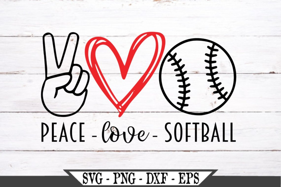 Download Peace Love Softball SVG (515443) | SVGs | Design Bundles