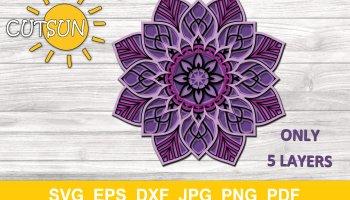 Svg Eps file 4 layers Digital download 3d mandala 3 DOGS