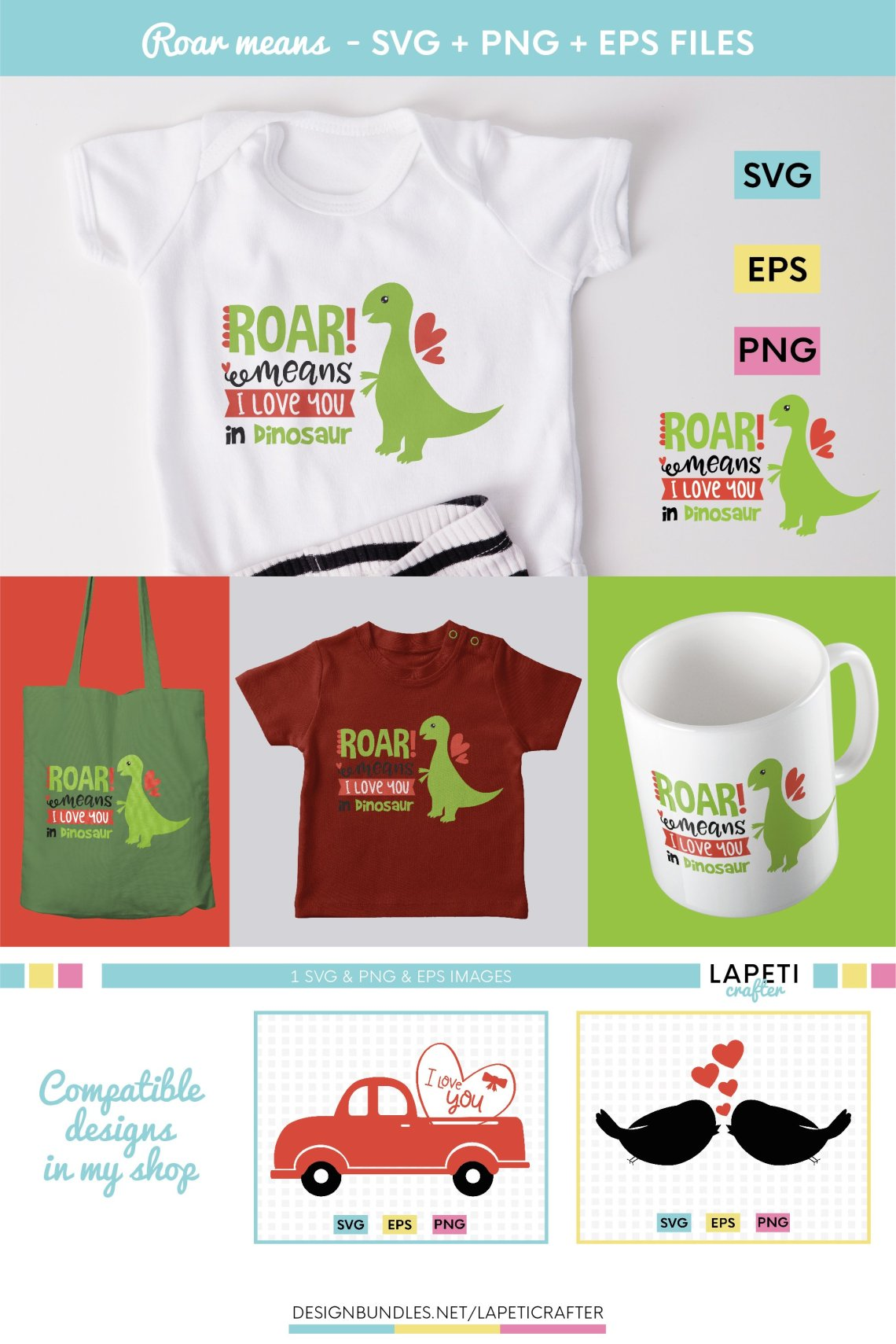 Download Dinosaur Valentines Svg - Layered SVG Cut File - Download ...