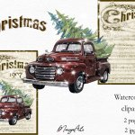 Merry Christmas Music Sheet Vintage Red Truck Retro Clipart 736431 Illustrations Design Bundles
