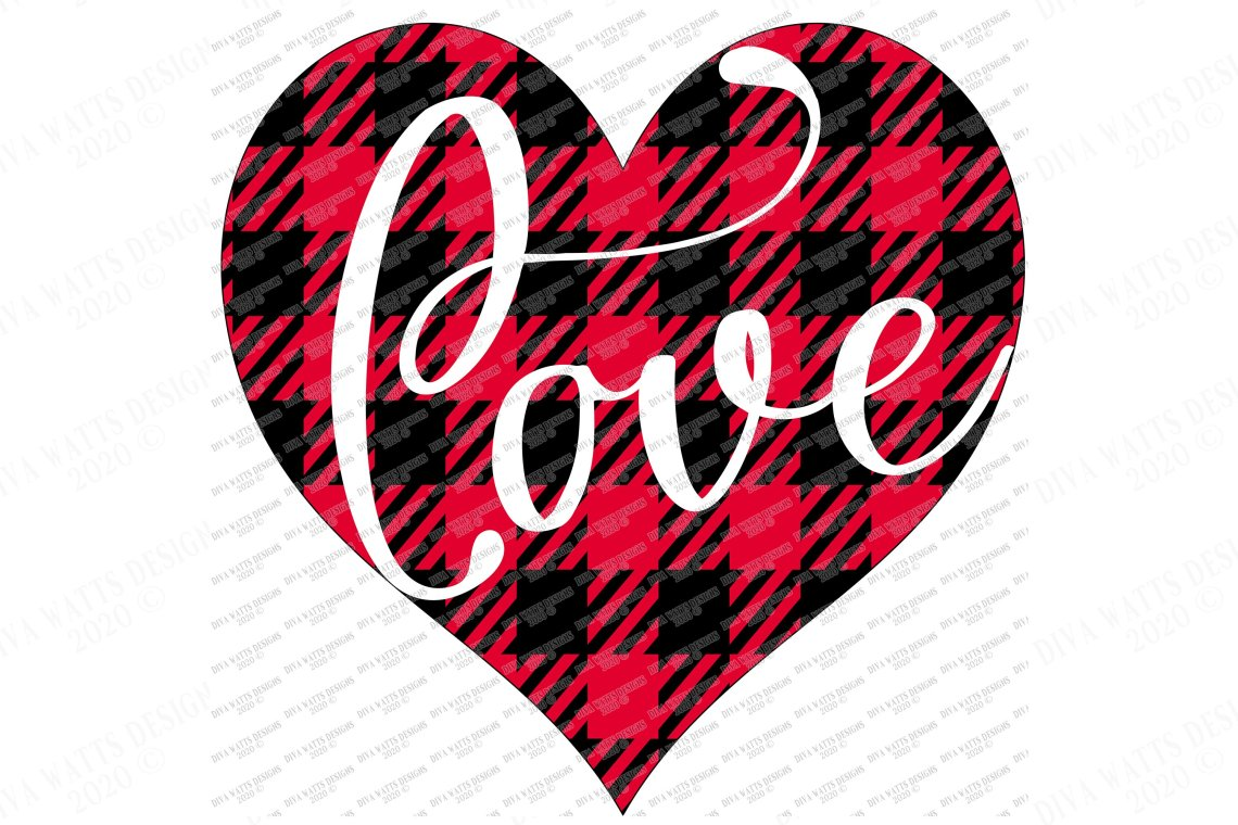 Download Love Valentine's Day Heart SVG - Buffalo Plaid Check - PNG ...