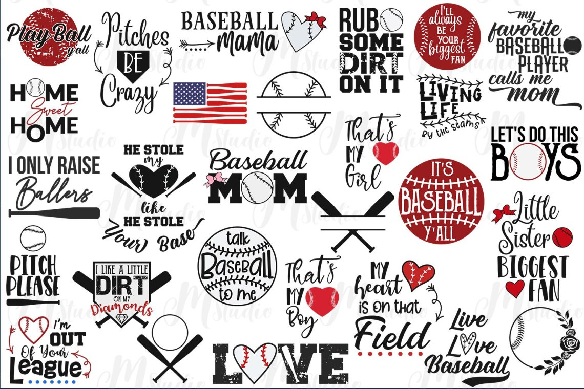 Download Baseball Love Crooked Letters Svg - Layered SVG Cut File