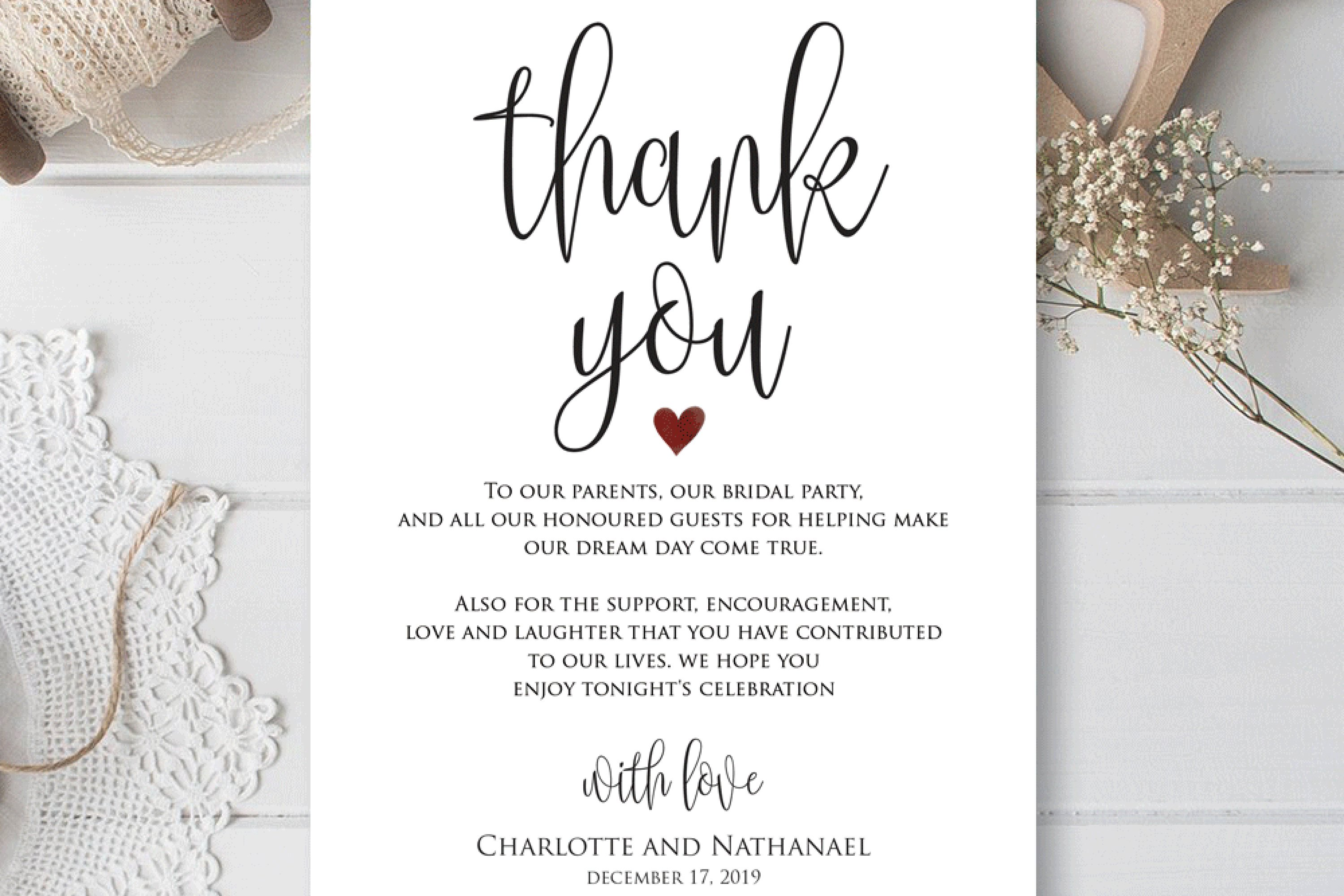 Wedding Thank You Note Printable Thank You Card Template 362872 Card And Invites Design Bundles