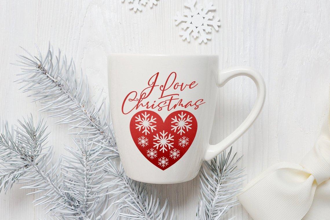 Download Christmas SVG | I love Christmas | Snowflake Heart SVG ...