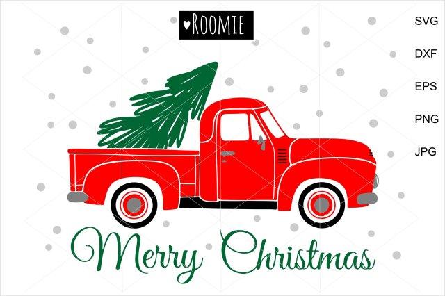 Merry Christmas Vintage truck, christmas tree svg, retro car