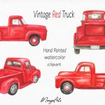 Red Truck Clipart Vintage Pick Up Hand Painted Watercolor 708321 Illustrations Design Bundles
