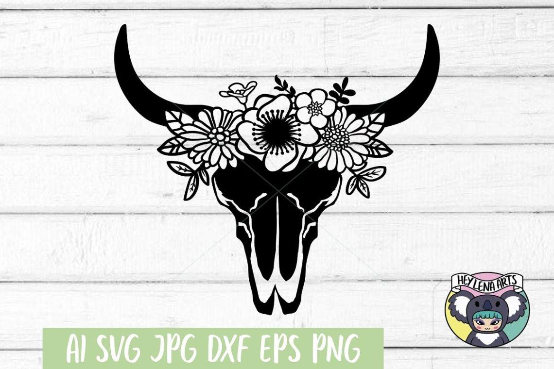 Download Cow Skull svg, Floral svg, Files for Cricut, Cut File, dxf ...