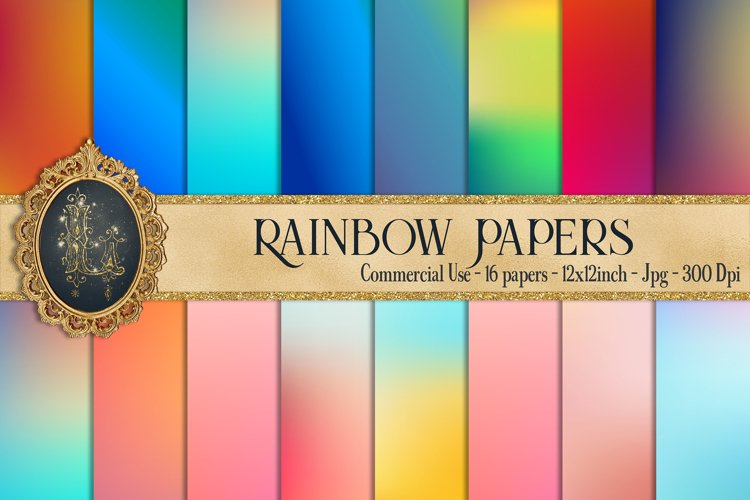 16 Rainbow Gradient Texture Digital Papers, Fairy Tale Paper example image 1