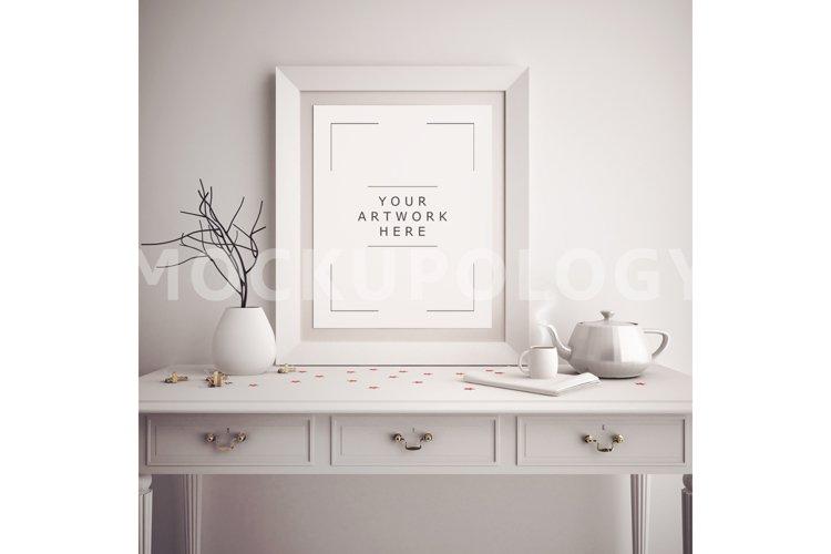 8x10 vertical white digital frame mockup poster frame mockup wooden french desk mockup vintage teapot styled frame instant download 17558