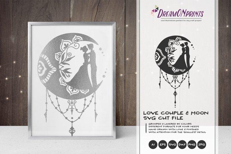 Download Zentangle Moon & Love Couple | Crescent Moon SVG (348470 ...