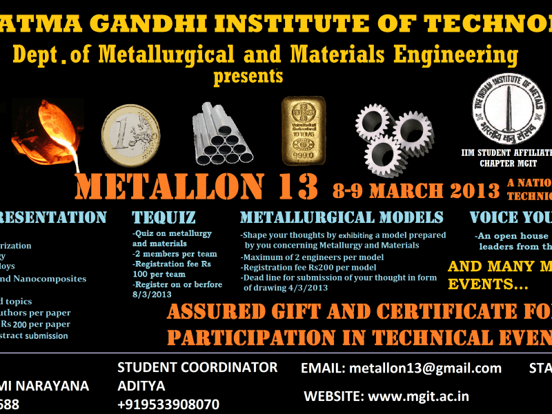 Metallon 13 - Tech Fest in MGIT Hyderabad on March 8-9, 2013