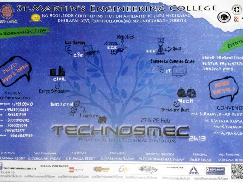 Technosmec 2K13 - Technical Fest in SMEC, Hyderabad from February 27-28, 2013