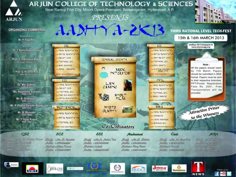 Aadhya 2K13 - Technical Fest at ACTS in Hyderabad from March 15-16, 2013