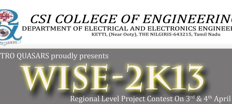 WISE 2K13 - Technical Festival at CSIEC in Ooty, Tamil Nadu from April 3-4, 2013