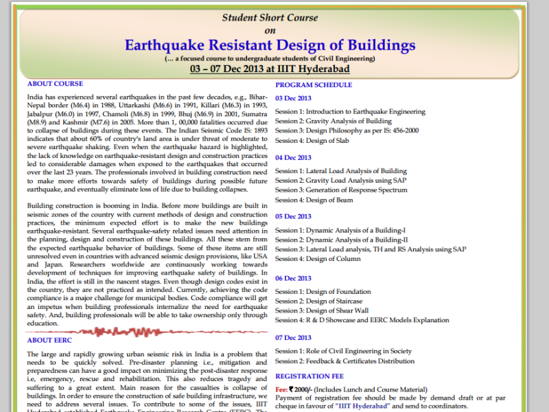 Short course of Earthquake Resistant Design of Buildings in IIIT Hyderabad from December 3-7, 2013