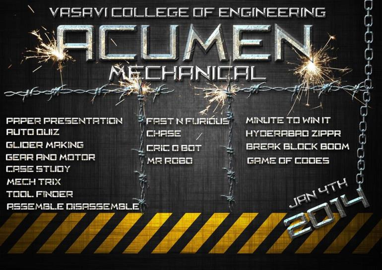 Acumen Mechanical Tech Festival in Vasavi Engineering College