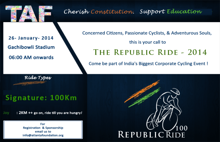 The Republic Ride 2014 - Cycling Event in Hyderabad on January 26