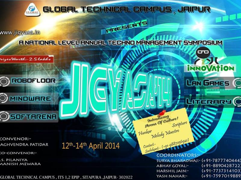 Jigyasa 14 - Technical Festival in Rajasthan from April 12-14, 2014