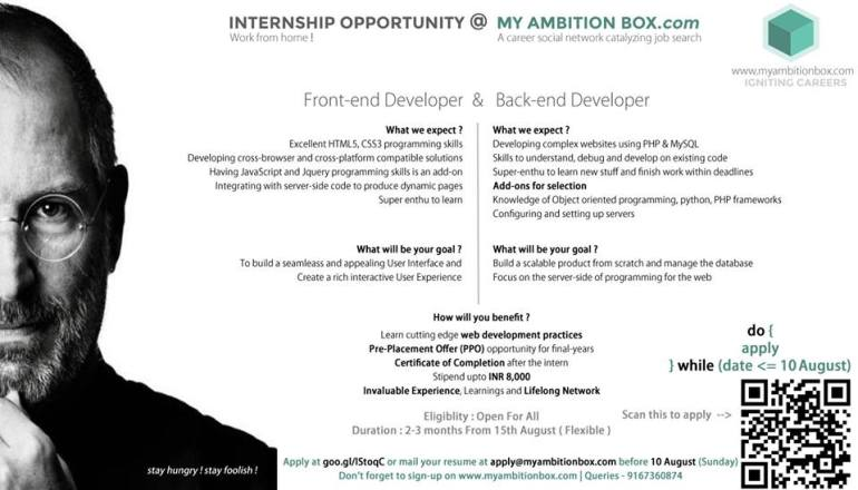 Work From Home Internship at My Ambition Box from August 15, 2014