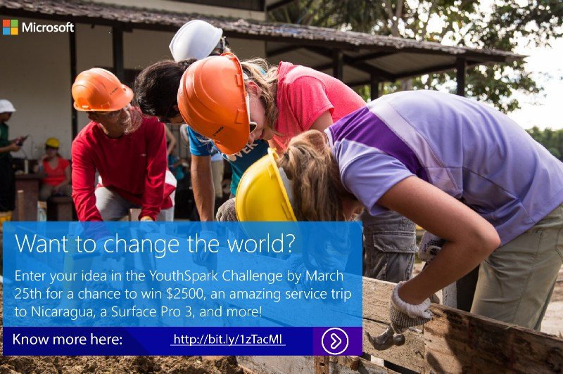 Microsoft YouthSpark Challenge for Change 2015 Online from February 25 - March 25, 2015