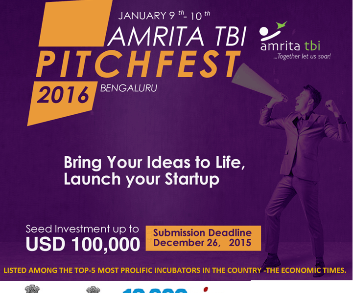 Amrita TBI PitchFest 2016 in Bangalore from January 9-10, 2016