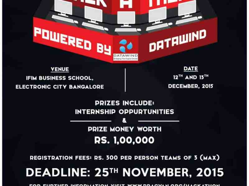 Pragyan Hackathon Powered by Microsoft in Bangalore on December 12-13, 2015