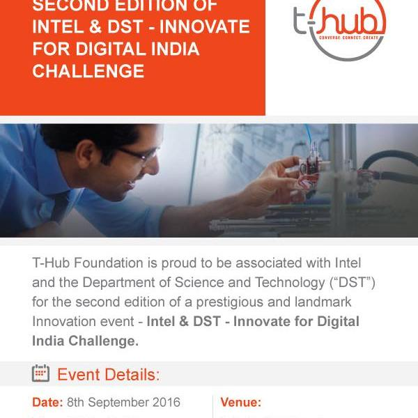 INTEL-DST Innovate for Digital India Challenge 2.0 in Hyderabad on September 8, 2016