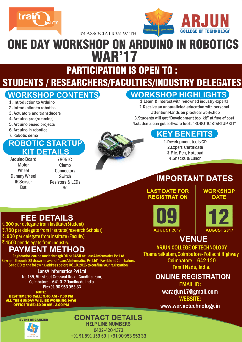 One Day Workshop on Arduino in Robotics in Coimbatore on August 12, 2017