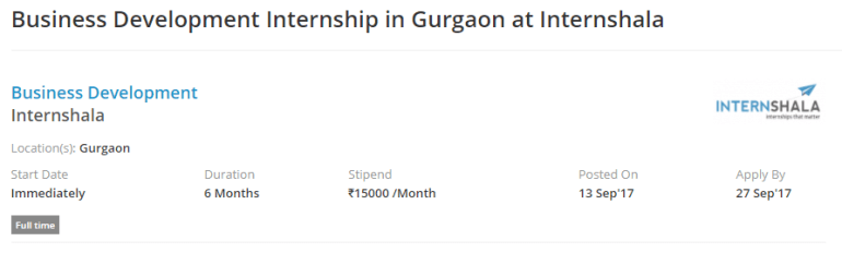 Business Development Internship in Gurgaon at Internshala