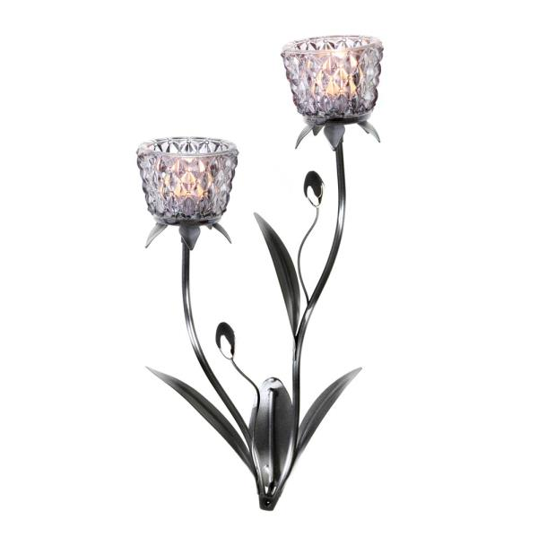 Silver Beaded Tulip Flower Votive Candleholder Wall Sconce ... on Candle Wall Sconces With Flowers id=31913