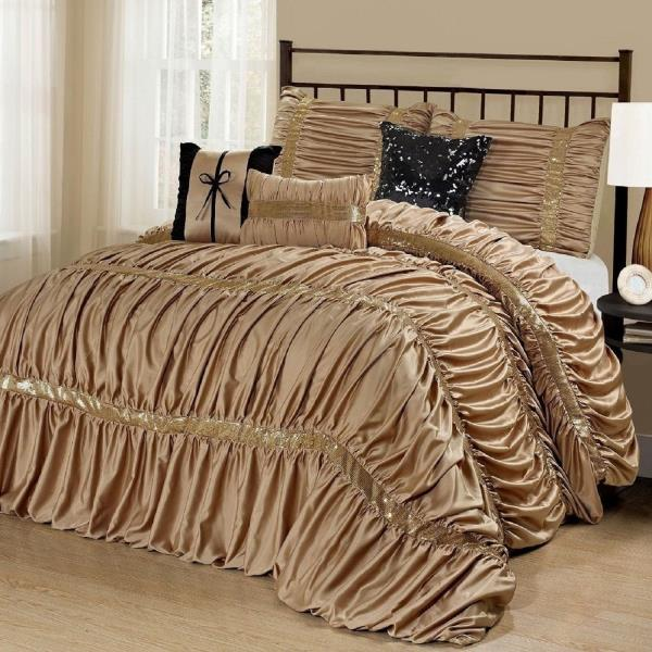 NEW Queen Cal King Bed Solid Gold Black Sequin Striped 7pc