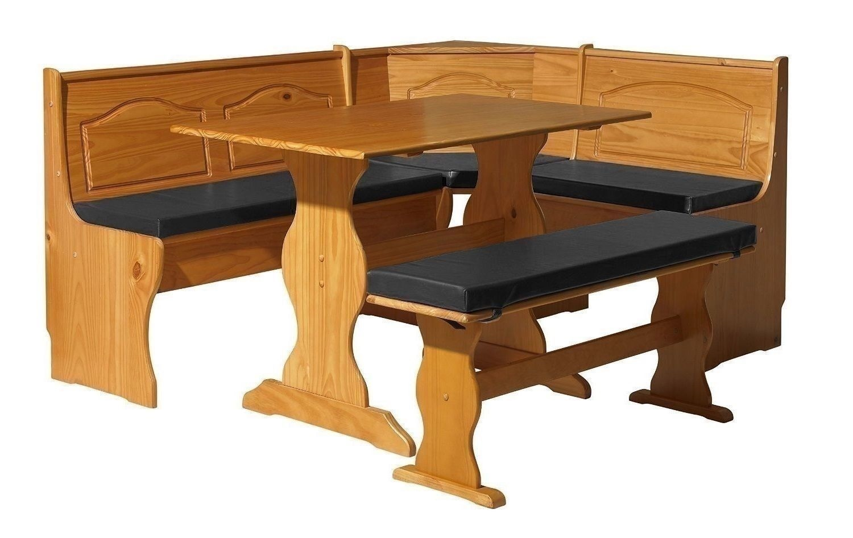 Black PVC 4 Piece Nook Cushion Set Corner Bench Booth