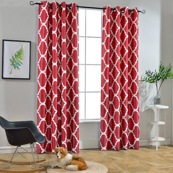set 2 solid red window curtains panels