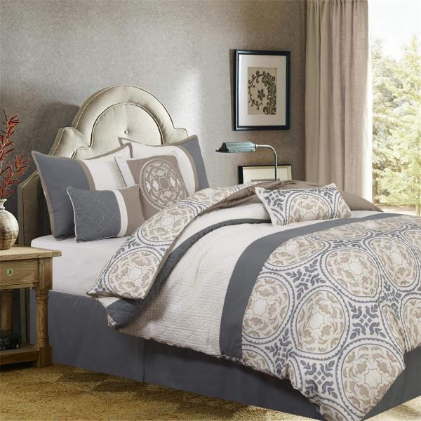 gray grey taupe ivory medallion quilted
