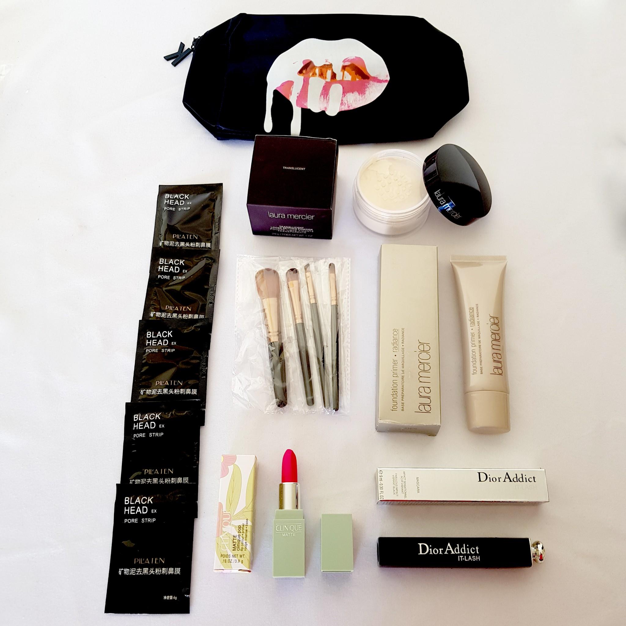 14pcs Lot Translucent Powder Primer Mascara Lipstick Face Brush Set Make Up Bag - Inspired Beauty Australia