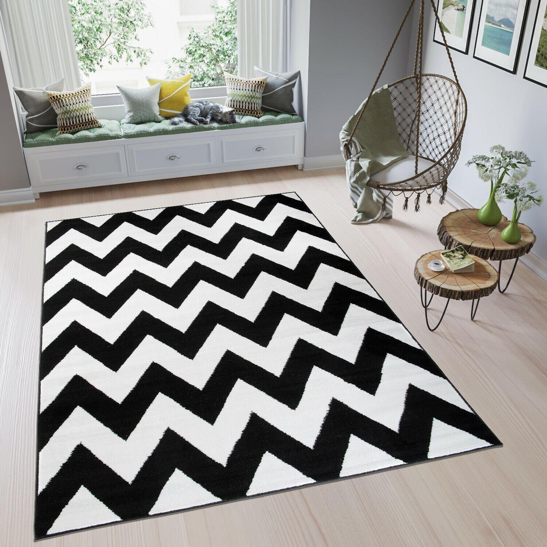 Tapiso Zig Zag Modern Large Rug Geometric Grey Black White Soft Pile Carpet