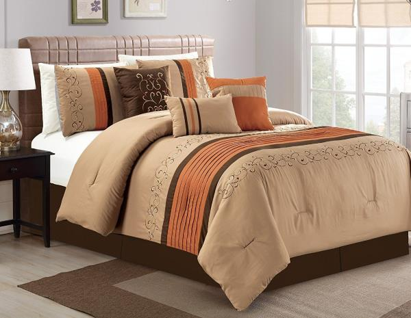 details about queen cal king brown tan spice embroidered striped 7 pc comforter set bedding