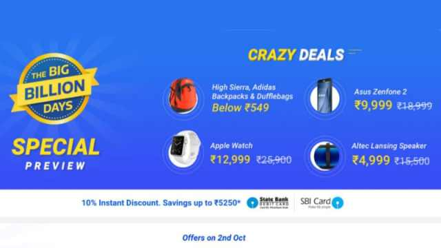 Flipkart Sale Big Billion Day 2016: Flipkart Offers Deals on Moto X Play, LeEco Le 2, Asus ZenFone 2, and More