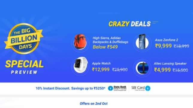 Flipkart Sale Big Billion Day 2016: Flipkart Offers Deals on Moto X Play, LeEco Le 2, Asus ZenFone 2, and More