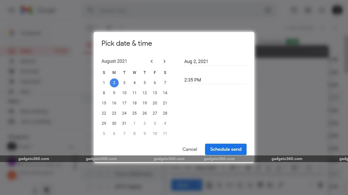 Gmail schedule how to inline ffuy