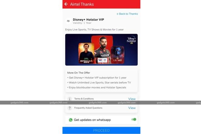 airtel disney plus hotstar vip offer screenshot gadgets 360 Airtel  Disney Plus Hotstar VIP