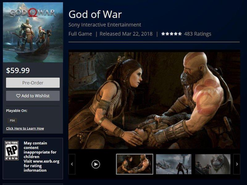 (PS4) God of War PS4 Release Date Leaked Via PlayStation Network