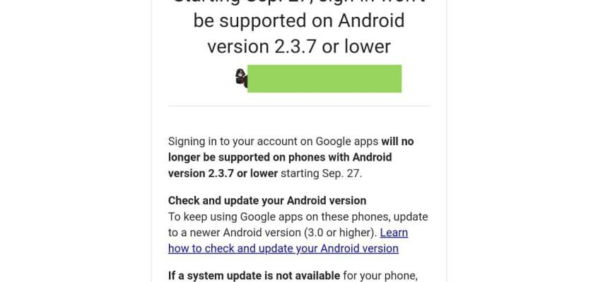 Old Android Phone Users Won't Be Able to Sign in to Google Apps Soon